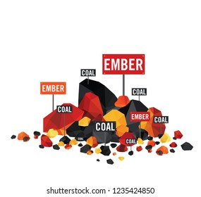 Set of black coals with glowing coal ,hot embers