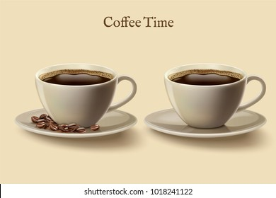 Black coffee in cup, set of coffee time design elements with coffee beans in 3d illustration