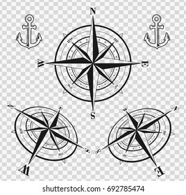 Set of black compass roses or wind roses silhouettes on transparent background. Vector illustration.