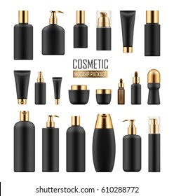 Set of black cosmetic packages with gold cup on white background. realistic blank template of plastic containers: bottles, tubes and jars for cream, body lotion, shampoo and soap, milk and gel.