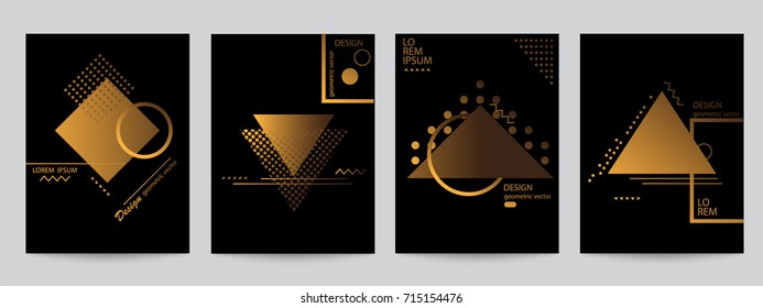 Set of black covers with minimal design and gold geometric forms. Abstract geometric vector objects. Modern Decoration shapes and figures for web, print, patterns,branding