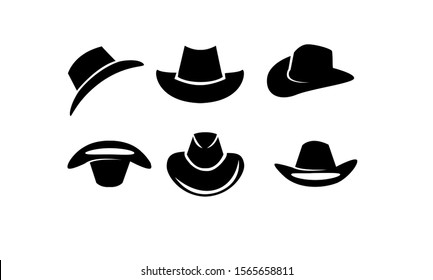 set of black Cowboy hat logo icon design vector illustration