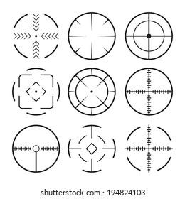 Set of black crosshairs icons. Isolated on white