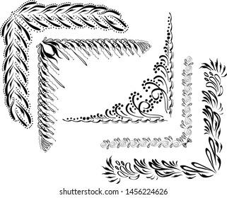 Set of black decorative floral elements
