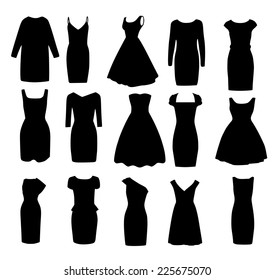 Set if black different shapes of evening ball cocktail dresses vector
