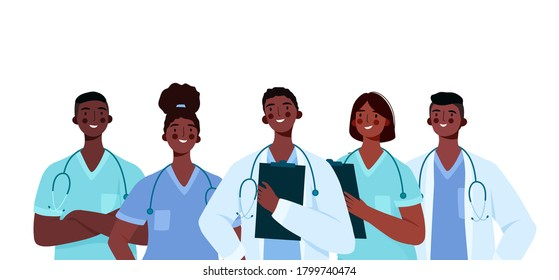 Set of Black doctors characters. Medical team concept in vector illustration design. Medical staff doctor nurse therapist surgeon professional hospital workers, group of medics.