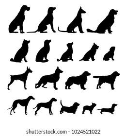 set of black dogs icon
