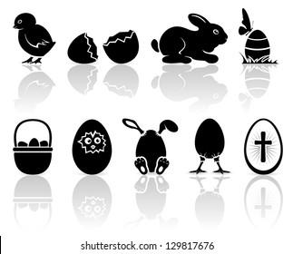 Set of black Easter icons on white background, illustration.