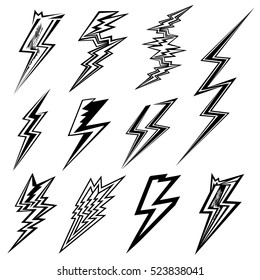 Set of black emblems of lightning. Set of lightning signs