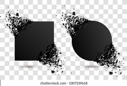 Set of black explosion banners. Square and circle destruction shapes with debris isolated on checkered background. 3d effect of particles.