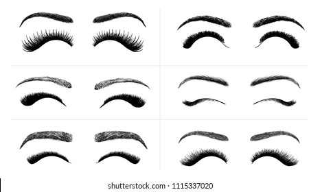 Set of Black False eyelashes and eyebrows. Woman beauty product. False lashes realistic. Hand drawn female eyelashes. Vector illustration. Isolated on white background