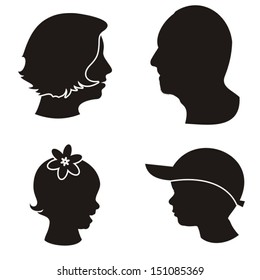 Set of black family members heads silhouettes on white background