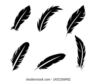 Set of black feathers on a white background in flat style.Vector