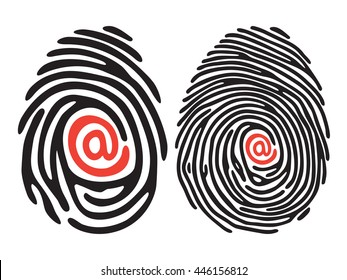 set of black finger print with email sign. Vector illustration