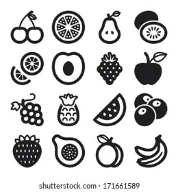 Set of black flat icons about fruit