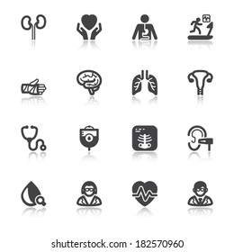 Set of black flat icons with reflection about health. Medical specialties