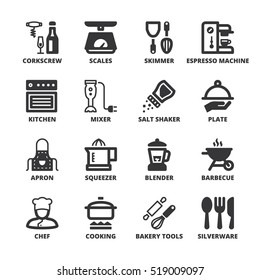 Set of black flat symbols about cooking