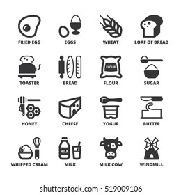 Set of black flat symbols about dairy egg bread and sugar
