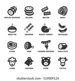 Set of black flat symbols about meat.