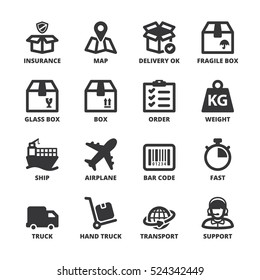 Set of black flat symbols about shipping
