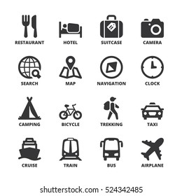 Set of black flat symbols about travel