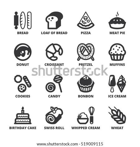 Set Black Flat Symbols About Bakery Stock Vektorgrafik Lizenzfrei