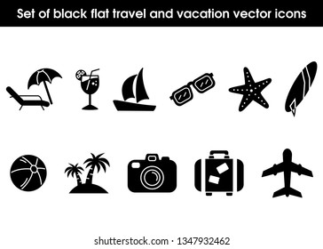 Set of black flat travel and vacation vector icons. Palm tree, sailing ship, beach ball, camera, surfing board, plane, sunglasses, suitcase, drink, starfish and sunbed, eps file