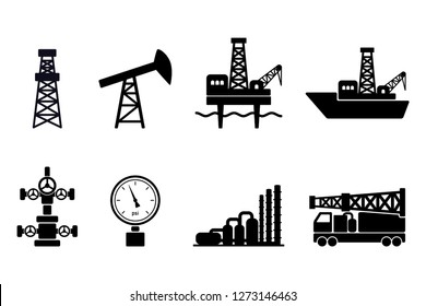Set of black flat vector oil and gas icons: onshore and offshore drilling signs, drilling rig, sucker rod pump, gas processing plant, wellhead, pressure gauge, drillship, offshore drilling platform