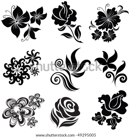 Set Black Flower Design Elements From Stock Vector Royalty Free