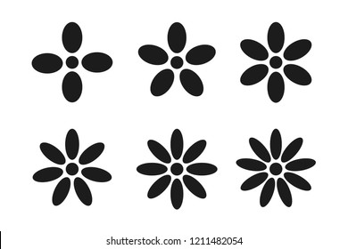 Set of black flower icons with different petal numbers on a white background. Vector illustration.