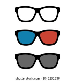 Set of Black Frame Optical Glasses, 3D Glasses and Sunglasses Icons isolated on White. Vector Illustration. Flat Simple Style.