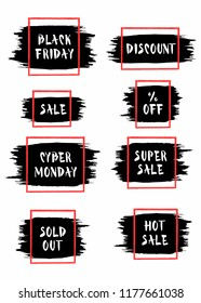 Set of Black Friday and Cyber Monday sale stickers. Vector banner for shopping, sale, product promotions. Isolated on white