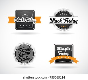 Set of Black Friday hand made simple labels with orange ribbon.