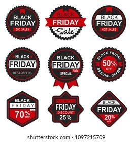 Set black friday sale badges and labels vector