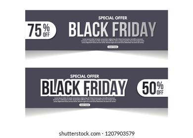 Set of black friday sale banner design. Black friday sale banner template. Abstract banner.