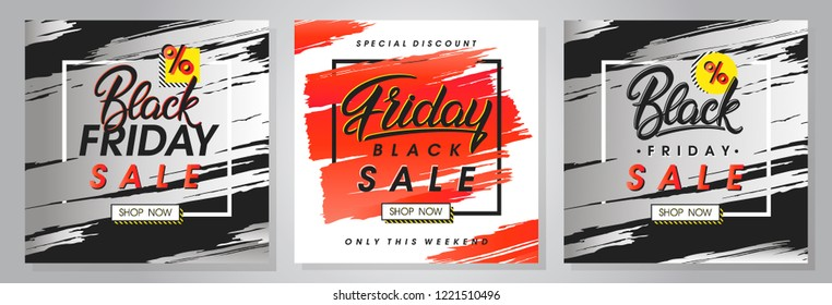Set of black friday sale banners.Special offers with lettering and grunge brush strokes.Sale templates perfect for prints, flyers,banners,promotions,special offers,ads, coupons and more.