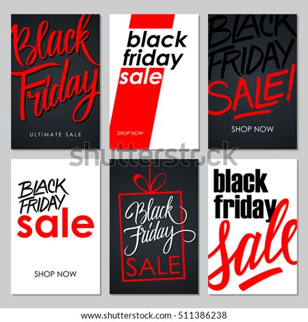 set black friday sale flyers handwritten stock vector royalty free