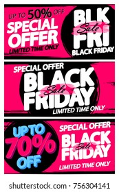 Set Black Friday Sale posters, banners design template, vector illustration