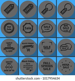 Set of Black Friday sale vector icons. Special offer banner templates. Round papercut pictogram with 3d effect.