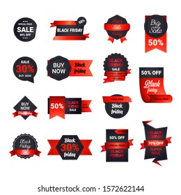 set black friday stickers or discount banners holiday shopping concept big sale labels collection advertising campaign badges vector illustration
