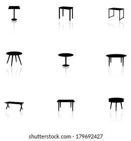 Set of black furniture icons