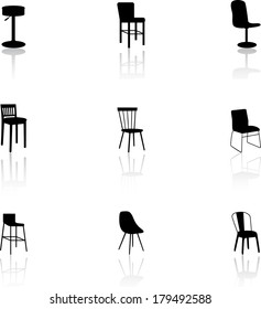 Set of black furniture icons - chairs