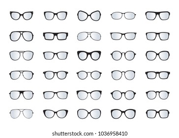 Set of black Glasses isolated. Vector Icons.