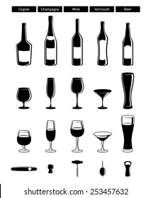 set of black glossy wine bottles with highlight, wineglasses