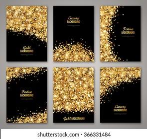 template design invitation gold glitter on black stock vector