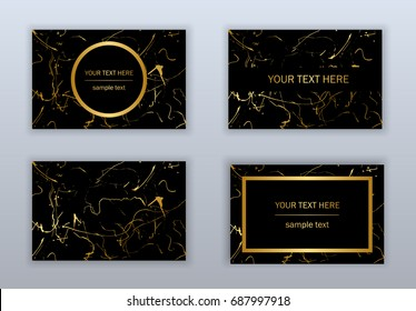 Set of black and gold business cards templates. Modern abstract design. Hand drawn ink pattern. Brush texture.
