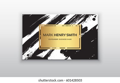 Set of Black and Gold Design Templates for Brochures, Mobile Technologies and Online Services, Typographic Emblems, Logo, Banners and Infographic. Abstract Modern Backgrounds.Brush stroke