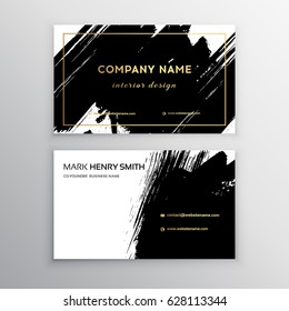 Set of Black and Gold Design Templates for Brochures, Flyers, Mobile Technologies and Online Services, Typographic Emblems, Logo, Banners and Infographic. Abstract Modern Backgrounds.Brush stroke