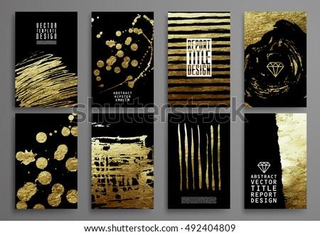 set black gold design templates brochures stock vector royalty free