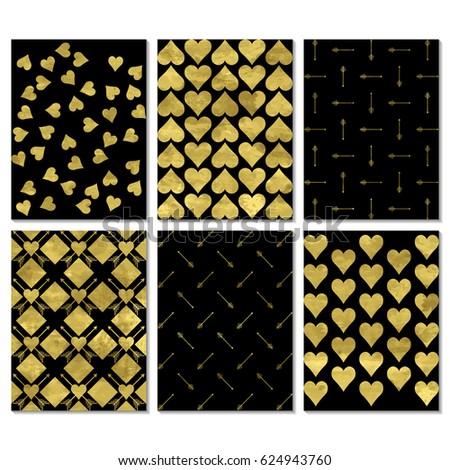 Set Black Gold Greeting Card Postcard Stock Vector Royalty Free